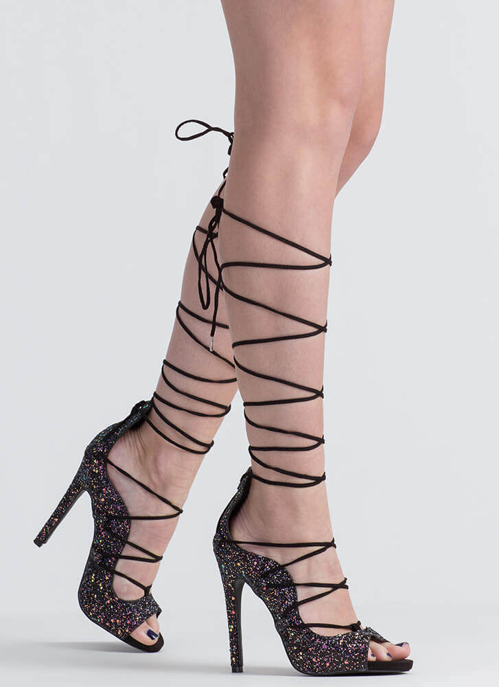 Waves Of Great Glittery Lace-Up Heels NAVY
