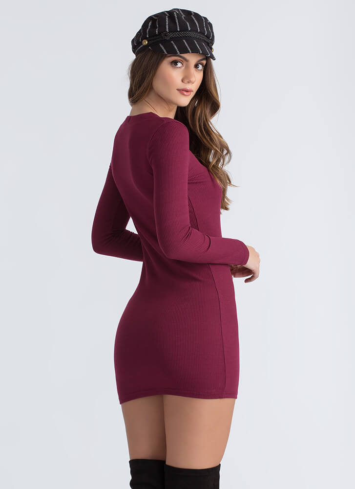 Laced With Cool Rib Knit Minidress BURGUNDY