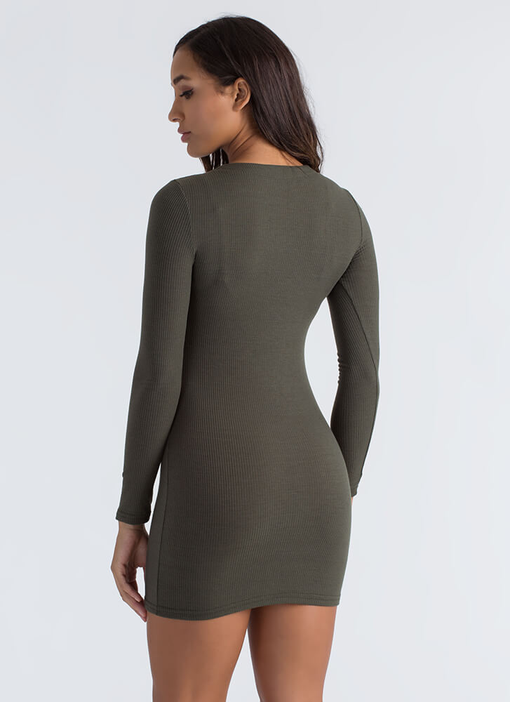 Laced With Cool Rib Knit Minidress OLIVE