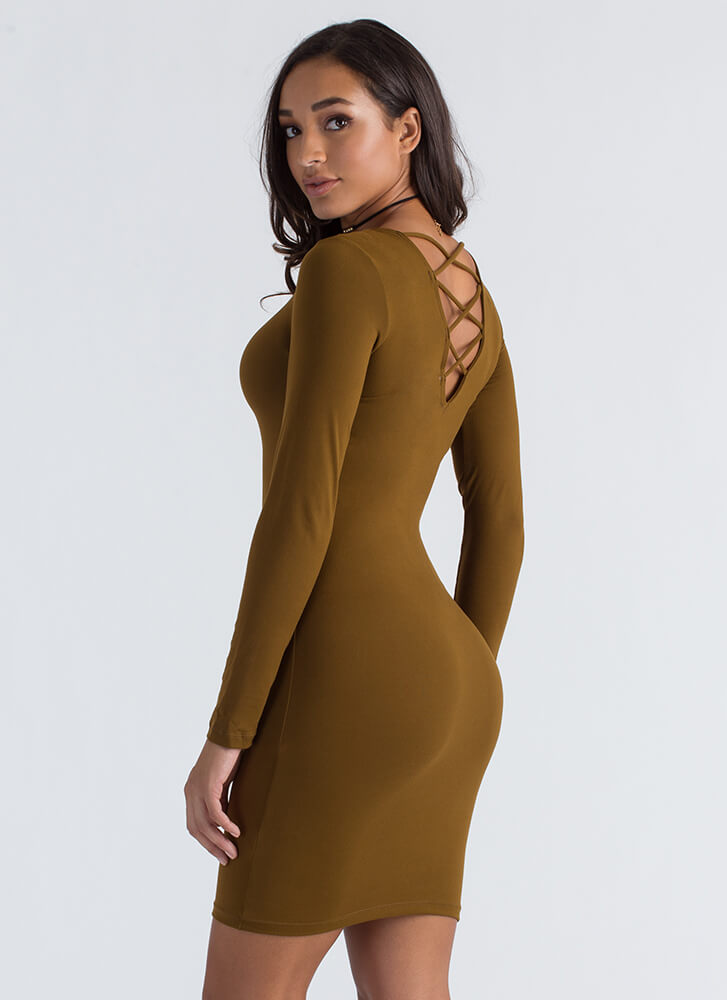 Come On Get Strappy Back Midi Dress OLIVE