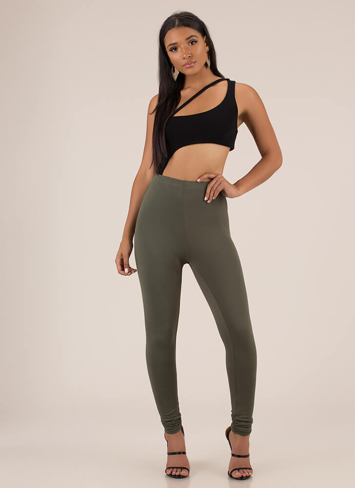 Basically Must-Have Solid Leggings OLIVE