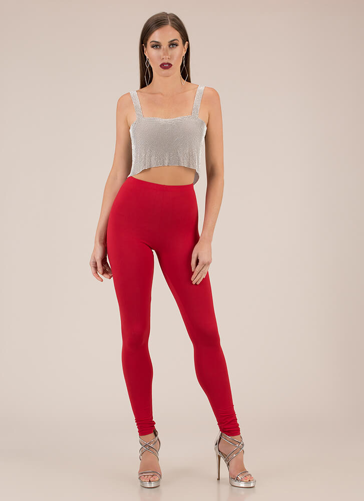 Basically Must-Have Solid Leggings RED