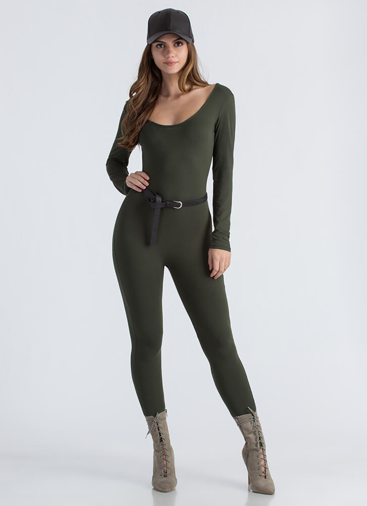 Basically Must-Have Open Back Jumpsuit OLIVE
