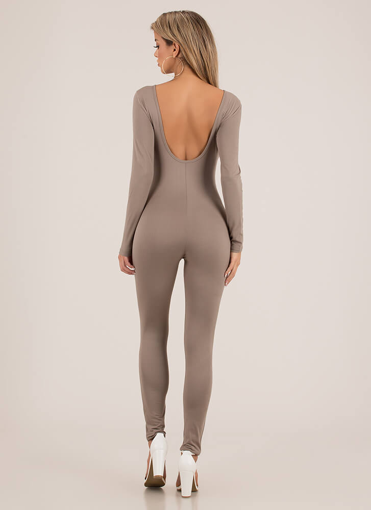 Basically Must-Have Open Back Jumpsuit TAUPE
