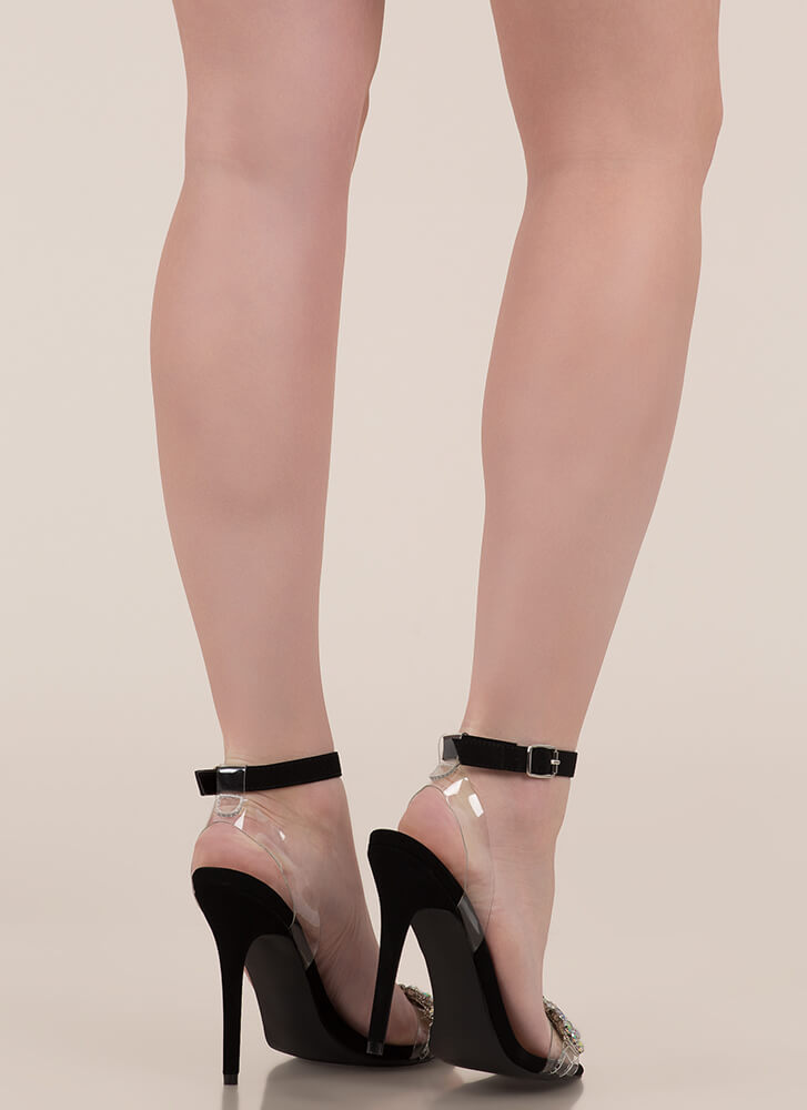 Clearly Jewels Strappy Faux Nubuck Heels BLACK
