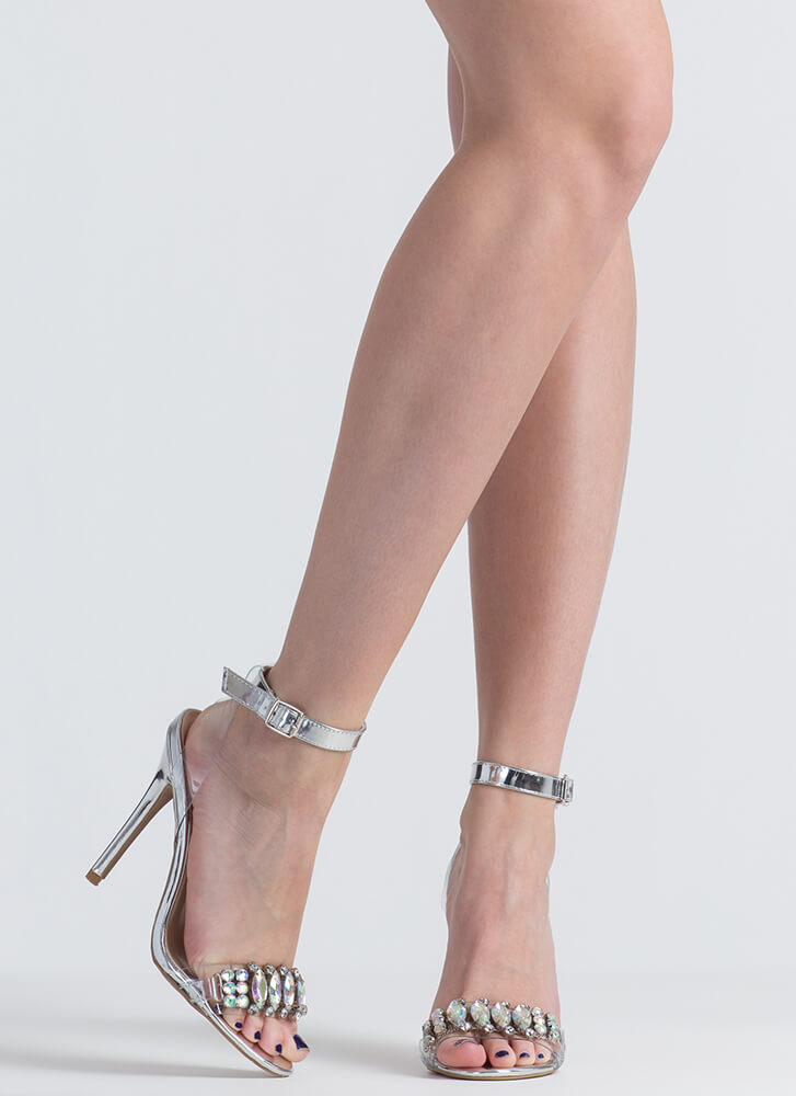 Clearly Jewels Strappy Metallic Heels SILVER