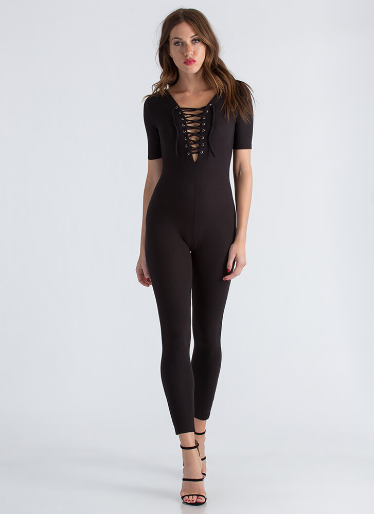 All You Need Ribbed Lace-Up Jumpsuit BLACK