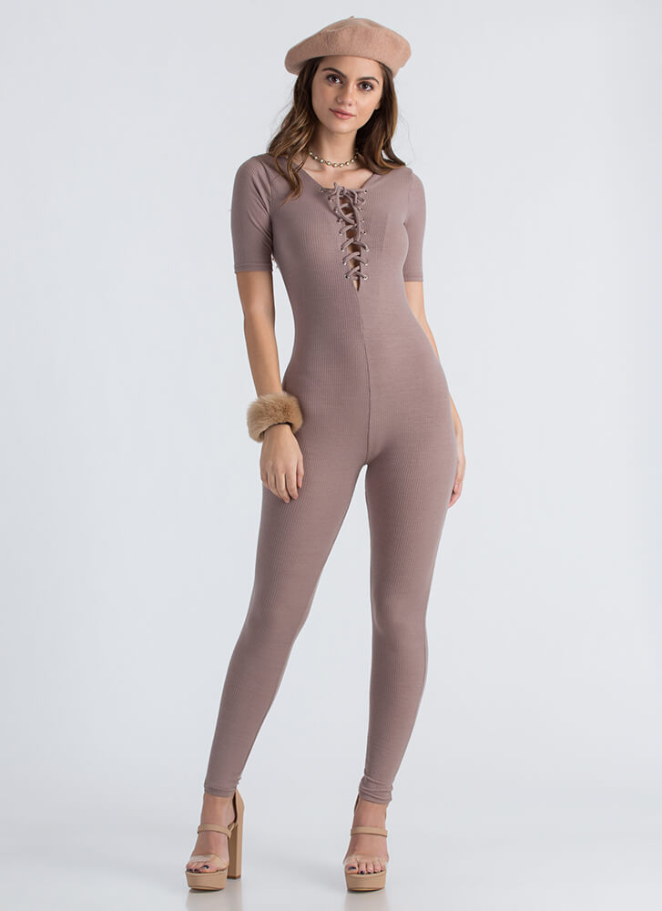 All You Need Ribbed Lace-Up Jumpsuit MOCHA