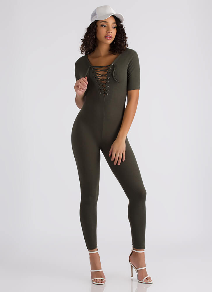 All You Need Ribbed Lace-Up Jumpsuit OLIVE