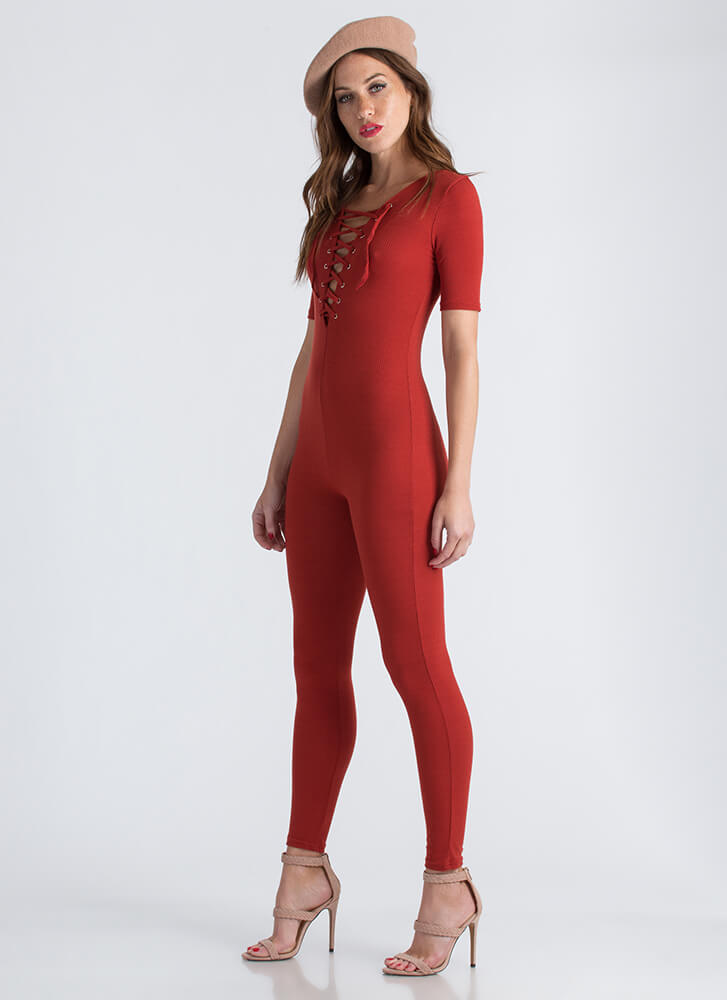 All You Need Ribbed Lace-Up Jumpsuit RUST