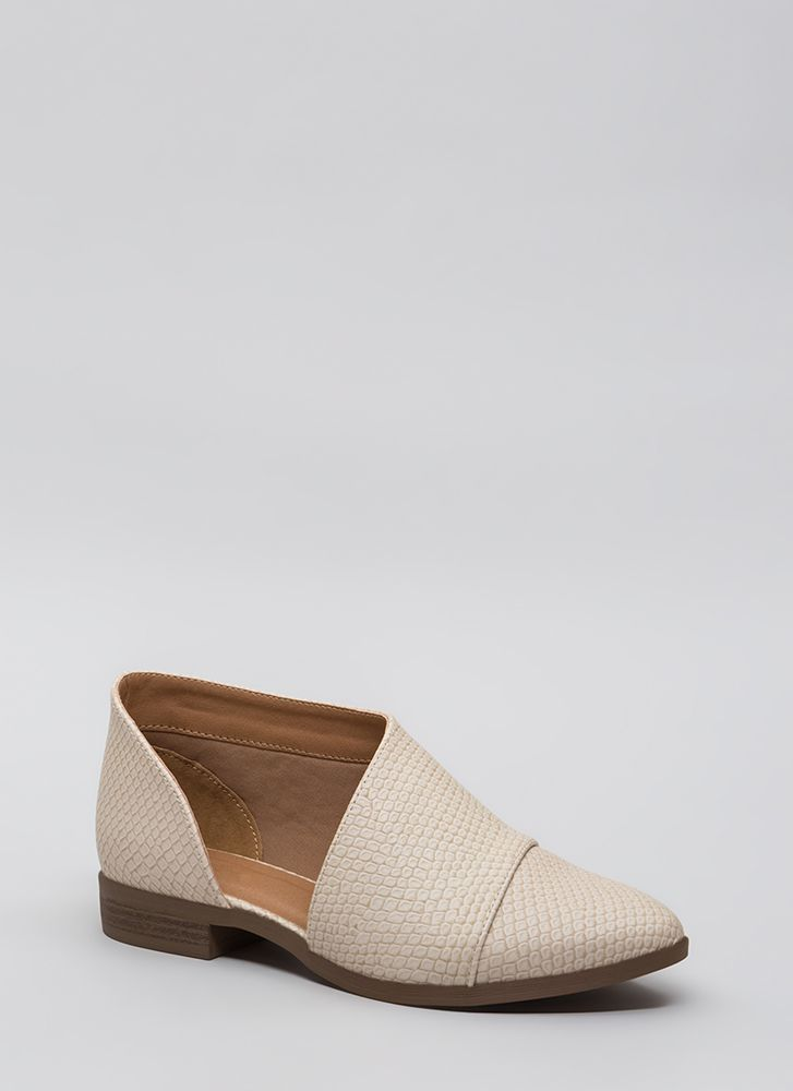 Cold-Blooded Scaled Asymmetrical Flats BEIGE
