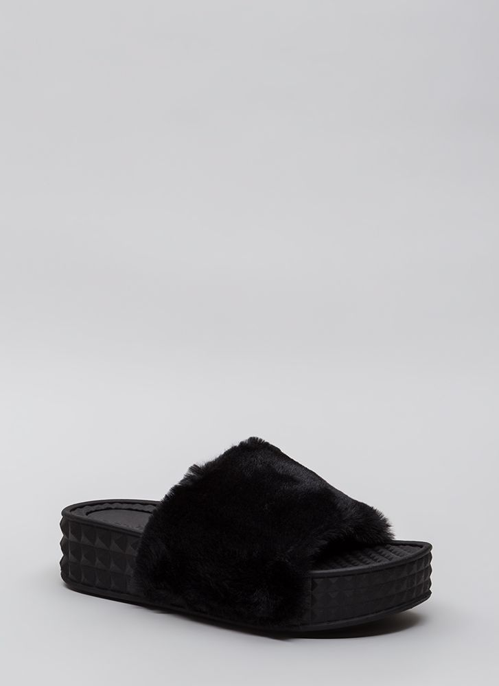 Pyramid Scheme Faux Fur Slide Sandals BLACK