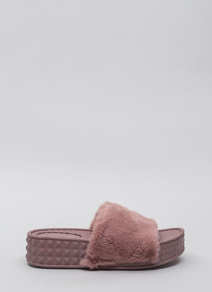 Pyramid Scheme Faux Fur Slide Sandals MAUVE