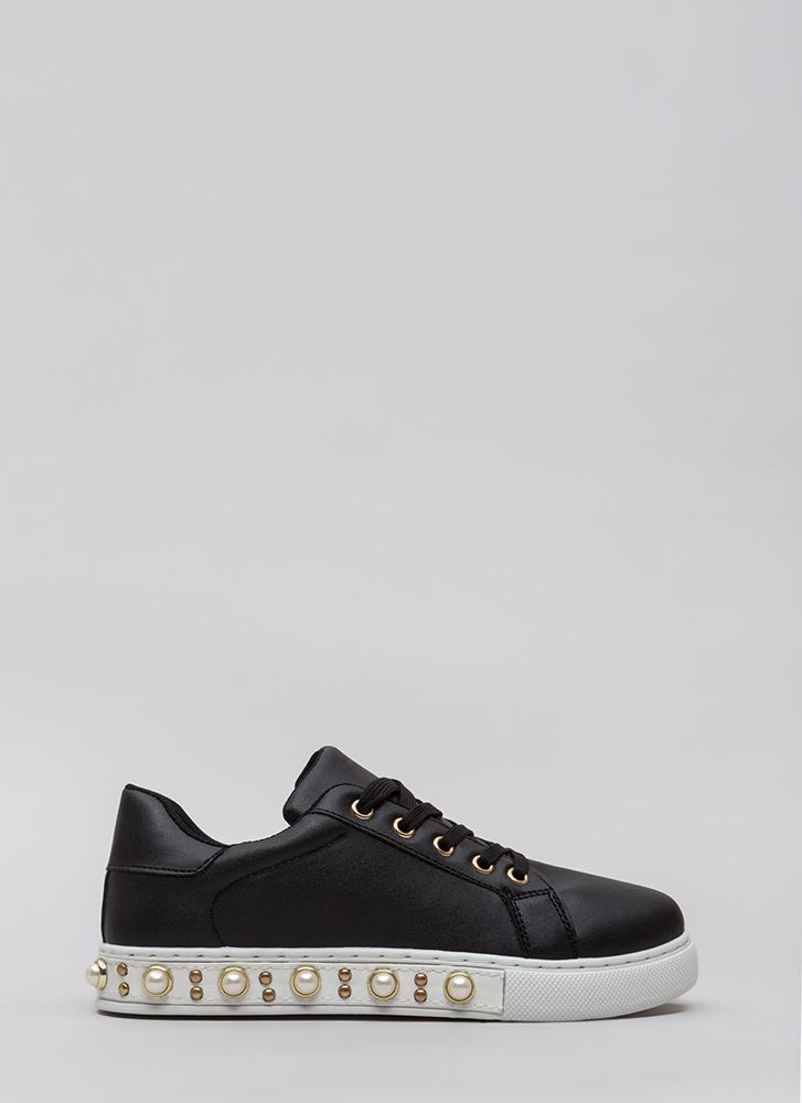 Studs And Pearls Faux Leather Sneakers BLACK (Final Sale)