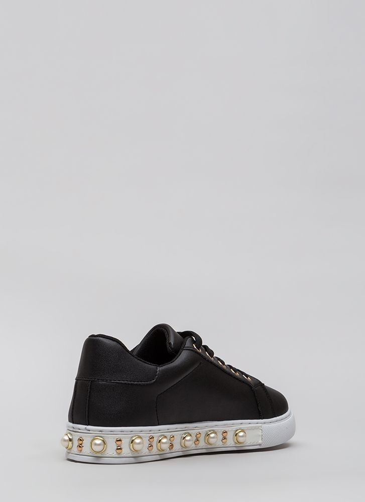 Studs And Pearls Faux Leather Sneakers BLACK