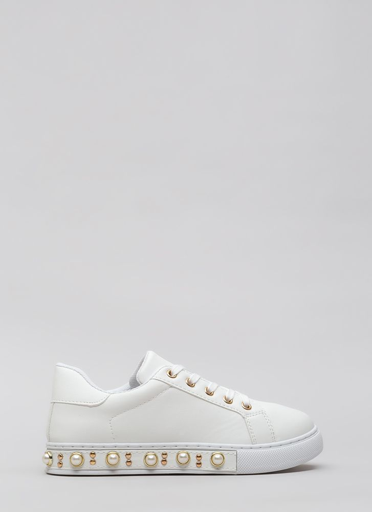 Studs And Pearls Faux Leather Sneakers WHITE