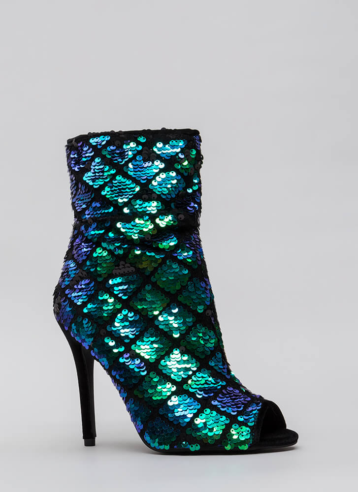 Shine Bright Sequined Diamond Booties BLUEBLACK