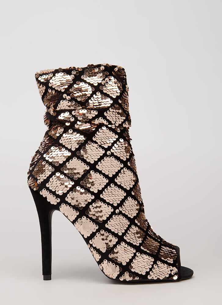 Shine Bright Sequined Diamond Booties ROSEGOLDBLK