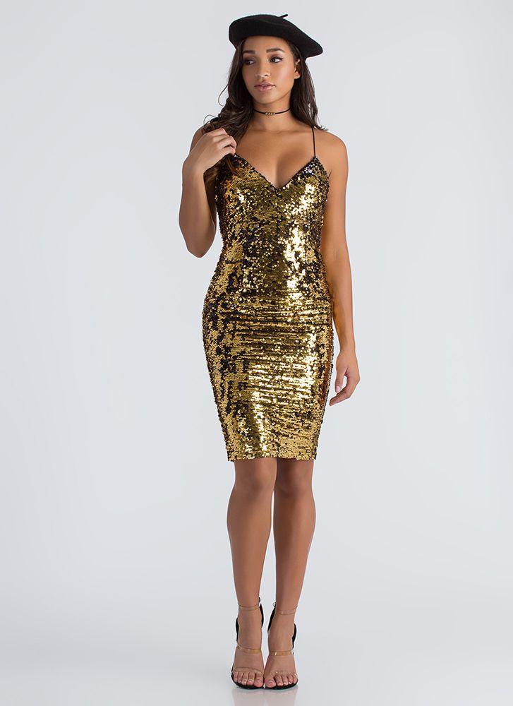 Party In My Sequined Midi Dress GOLD