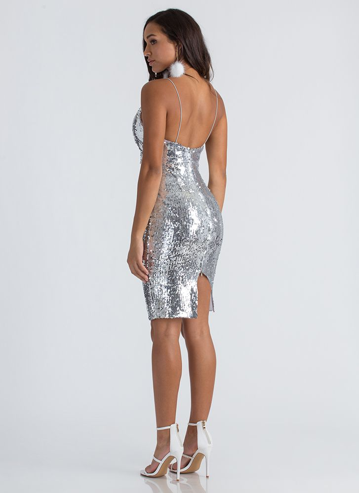 Party In My Sequined Midi Dress SILVER