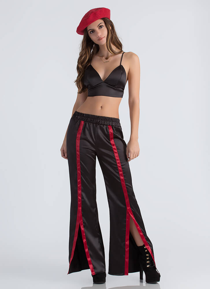 Earn Stripes Satin Bra Top And Pant Set BLACK