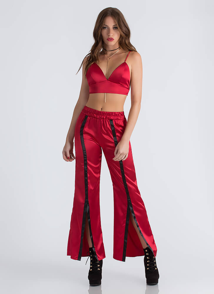 Earn Stripes Satin Bra Top And Pant Set RED