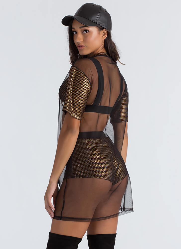Party Of Three Mesh Houndstooth Set COPPER