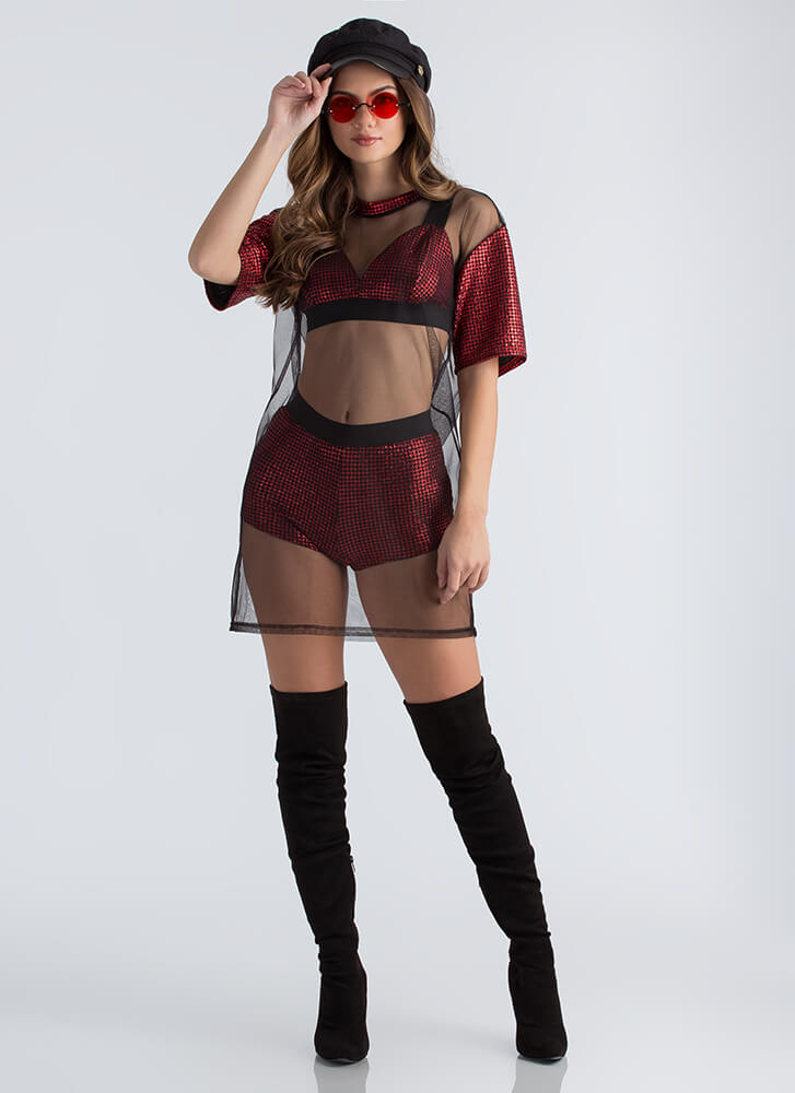 Party Of Three Mesh Houndstooth Set RED