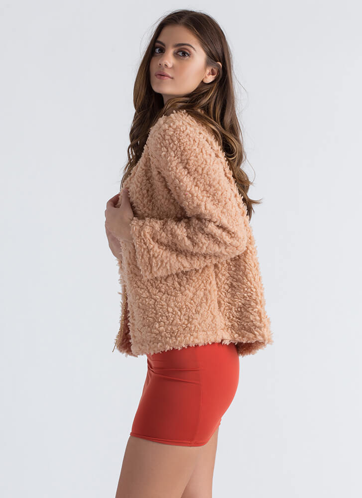 Can You Furry Up Faux Shearling Jacket BLUSH
