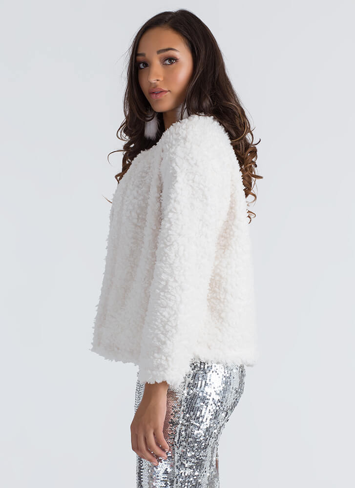 Can You Furry Up Faux Shearling Jacket OFFWHITE