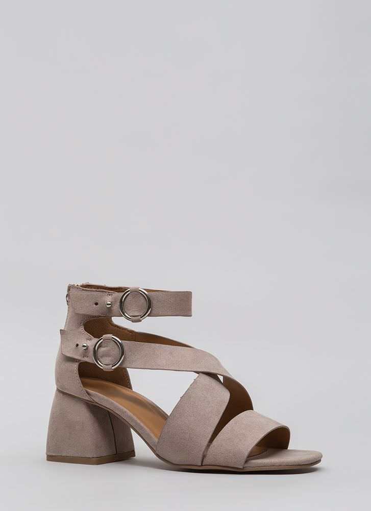 Moto Flare Chunky Block Heel Sandals TAUPE