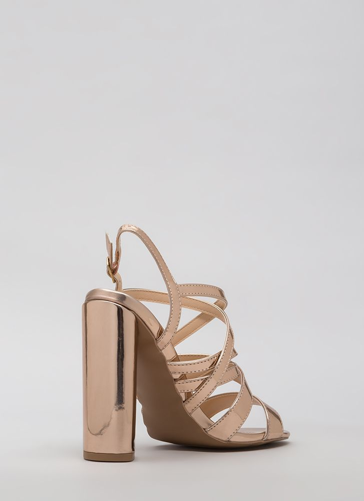 C'Mon Get Strappy Caged Chunky Heels ROSEGOLD