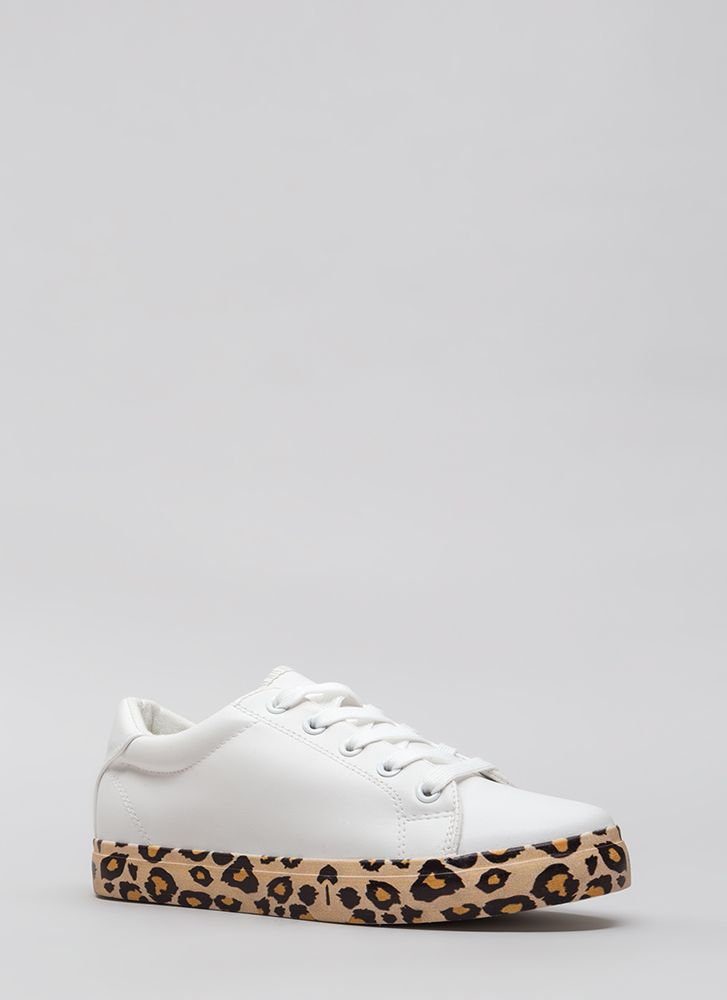 On The Prowl Leopard Platform Sneakers WHITE (Final Sale)