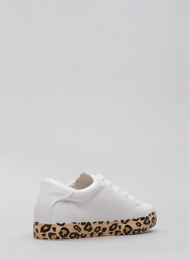 On The Prowl Leopard Platform Sneakers WHITE