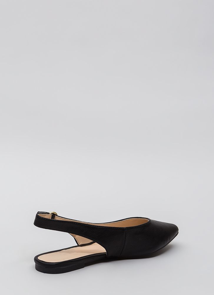 Slingback In Circulation Pointy Flats BLACK