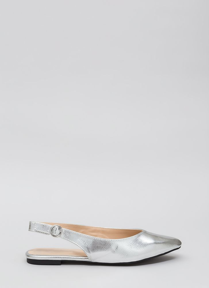 Slingback In Circulation Metallic Flats SILVER