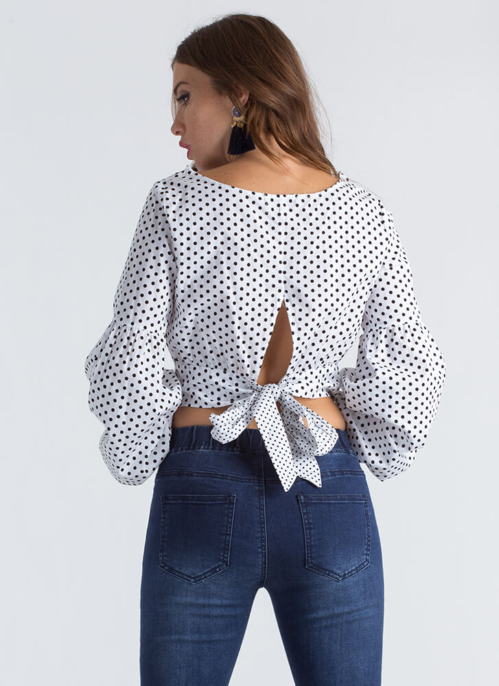 Polka Face Dotted Puffy Sleeve Top WHITE
