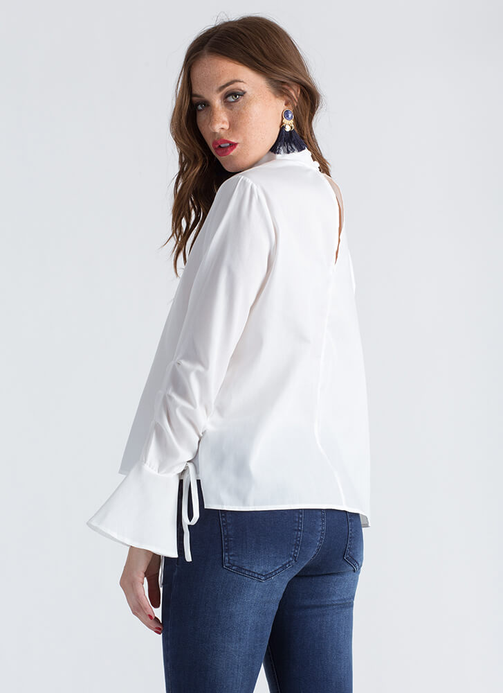 Ring My Bell-Sleeve Flared Blouse WHITE