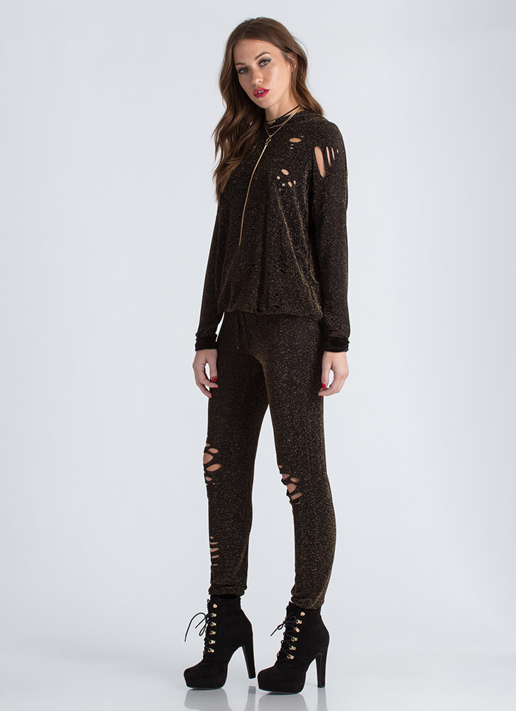 Rock Star Sparkly Hoodie And Jogger Set GOLD