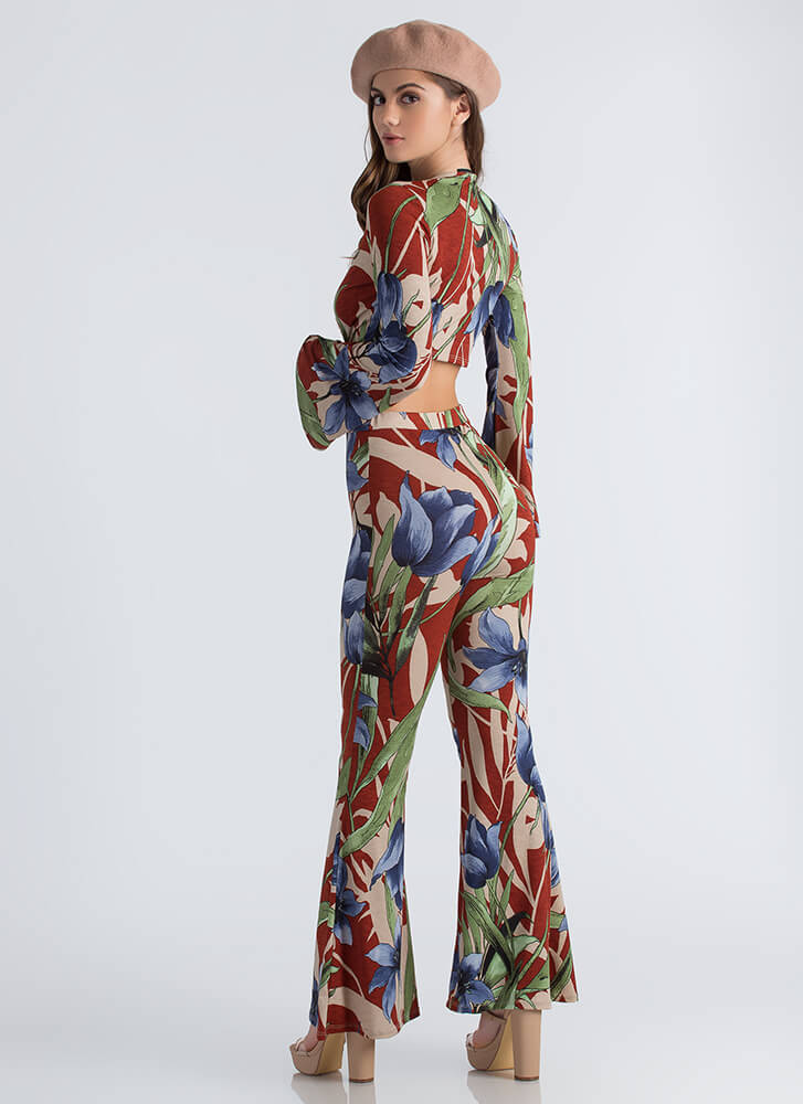 Frond Of You Floral Bell-Bottom Jumpsuit RUSTBLUE