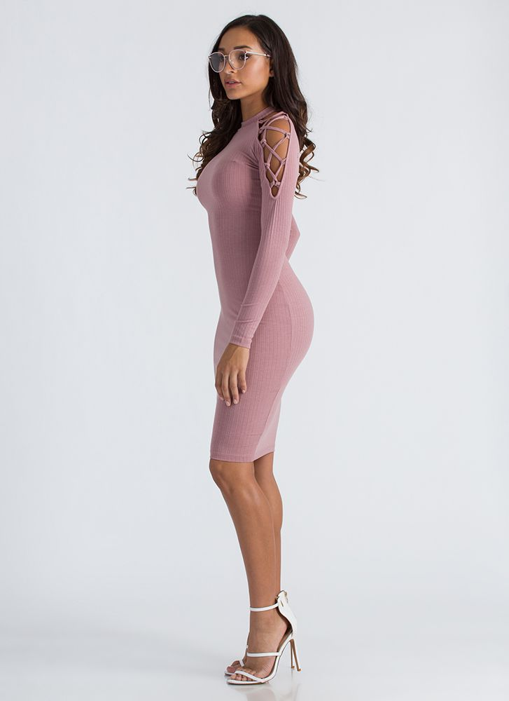 Laced First Ribbed Cold-Shoulder Dress MAUVE