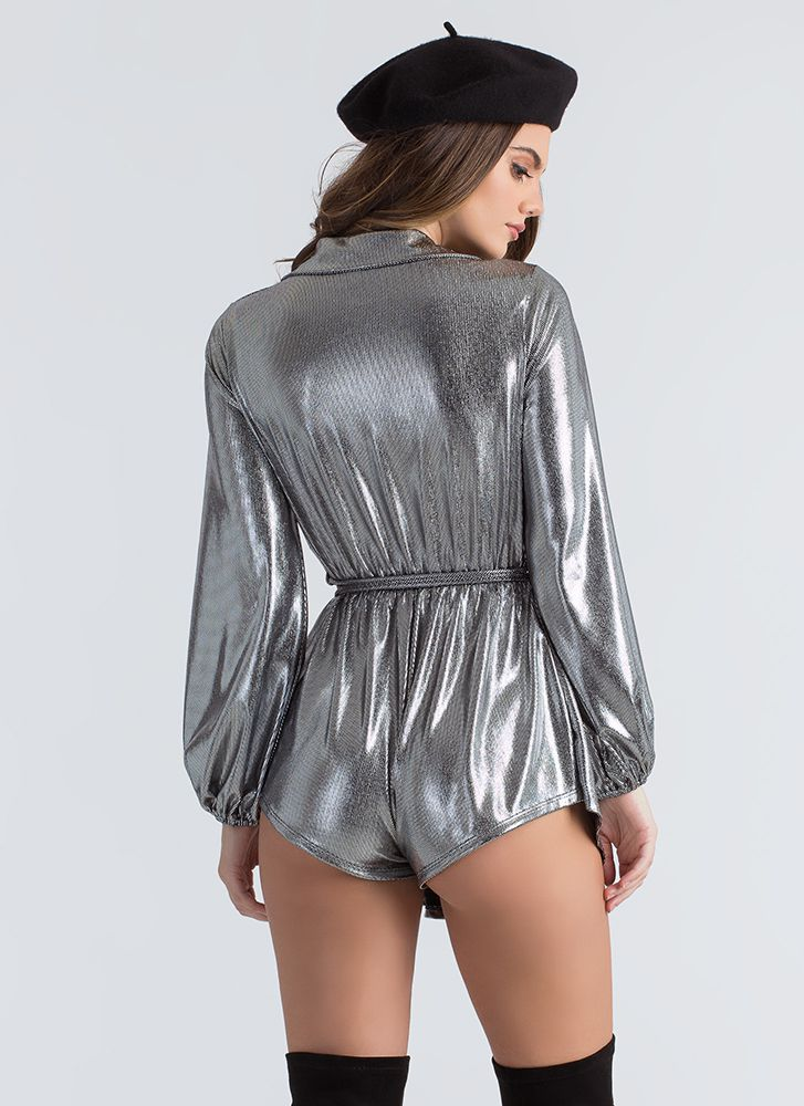 Skirt The Issue Plunging Metallic Romper SILVER