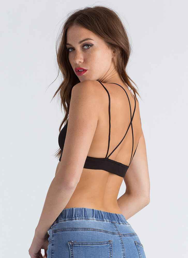 Bringing Strappy Back Rib Knit Bralette BLACK
