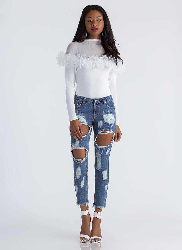 Square Off Destroyed Boyfriend Jeans BLUE