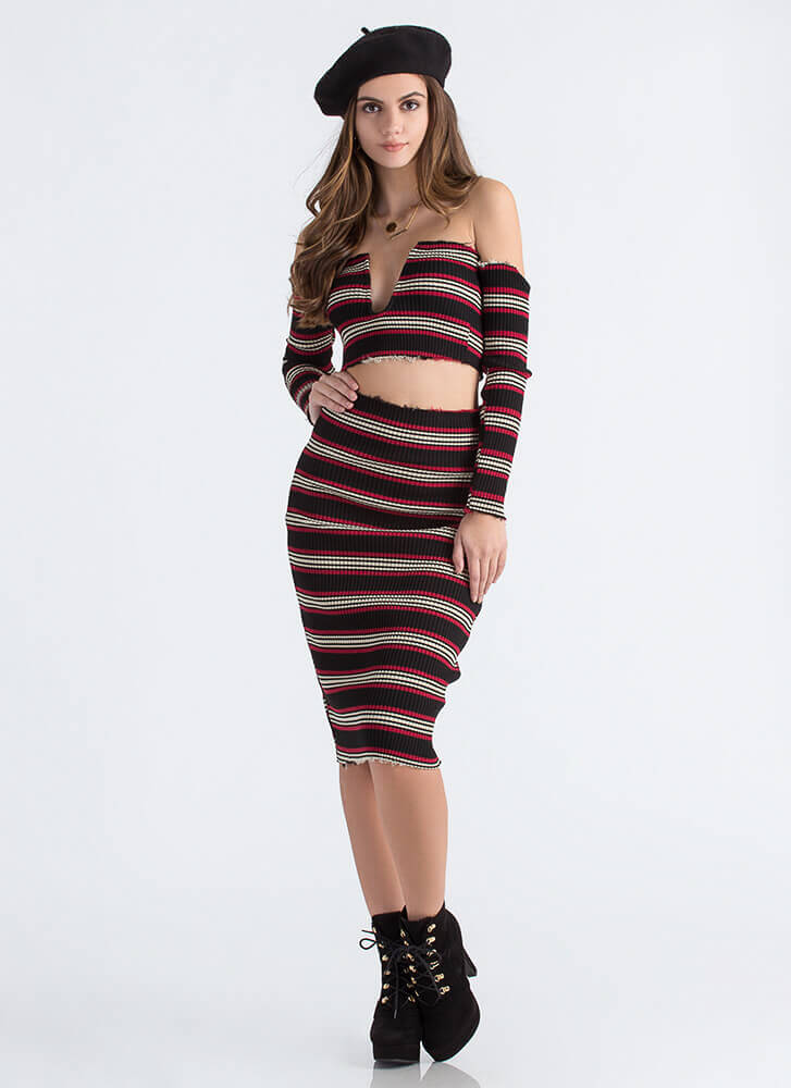 Fray Date Striped Rib Knit Pencil Skirt BLACK