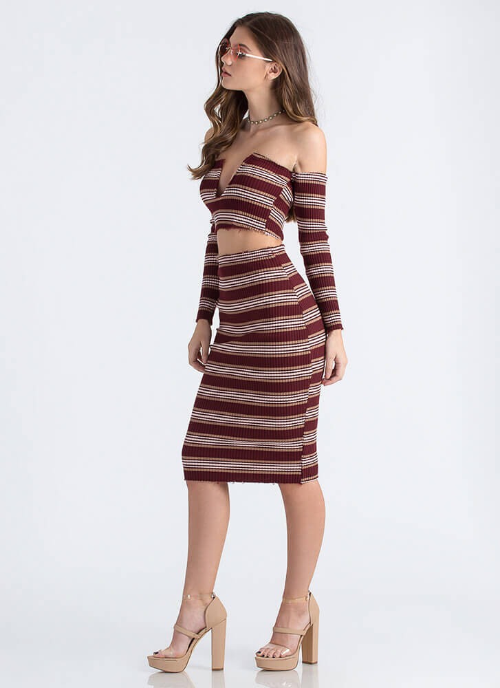Fray Date Striped Rib Knit Pencil Skirt BURGUNDY
