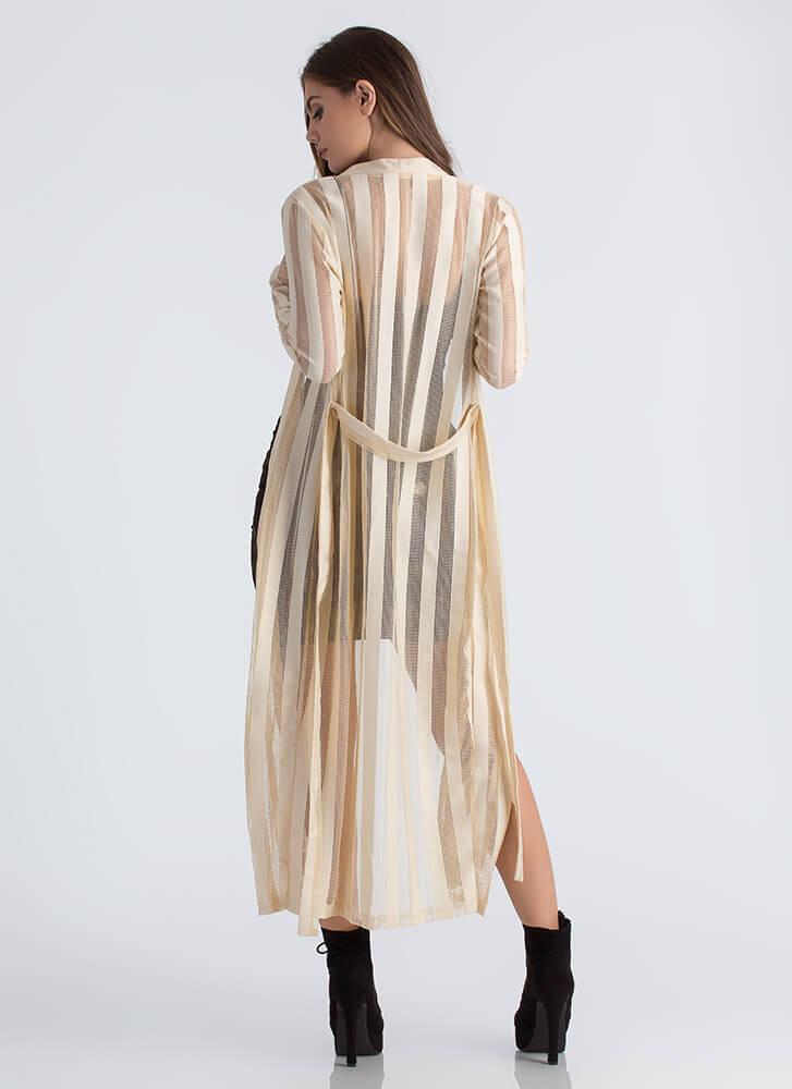 Follow My Shadow Striped Knit Duster NUDE