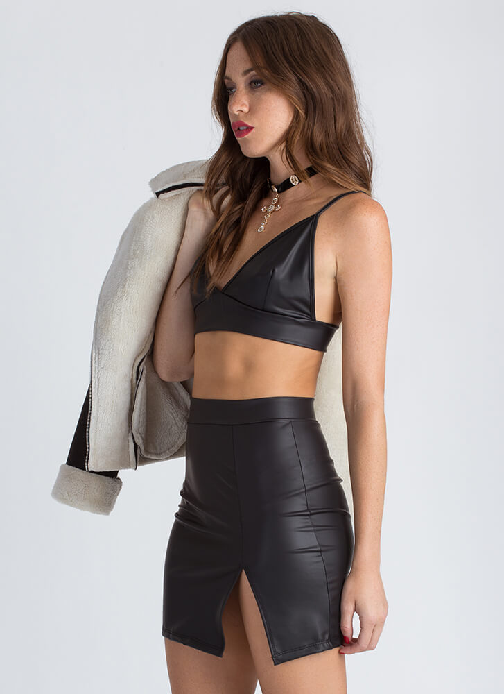 Leather Weather Crop Top And Skirt Set BLACK