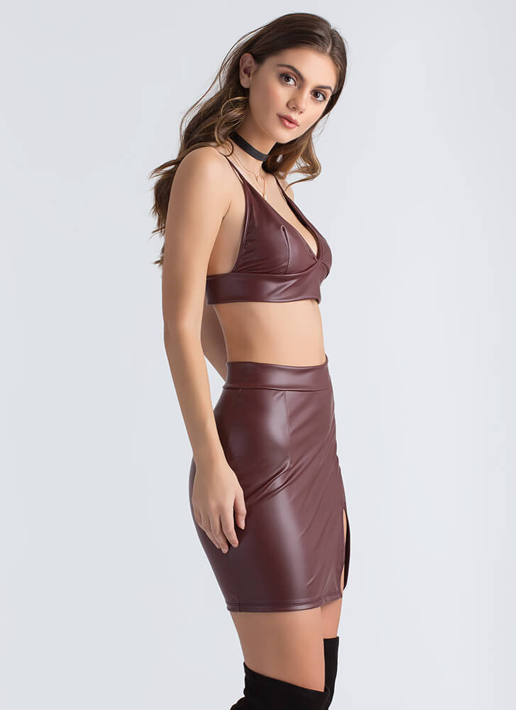 Leather Weather Crop Top And Skirt Set BURGUNDY