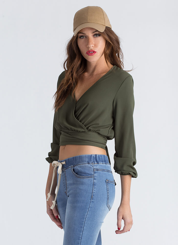 Wrap Things Up Flowy Tied Crop Top OLIVE